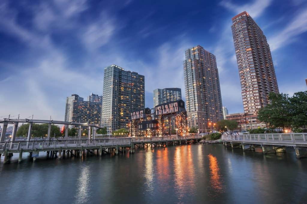 Pier of Long Island near Gantry Plaza State Park, borough of Queens, New York City
