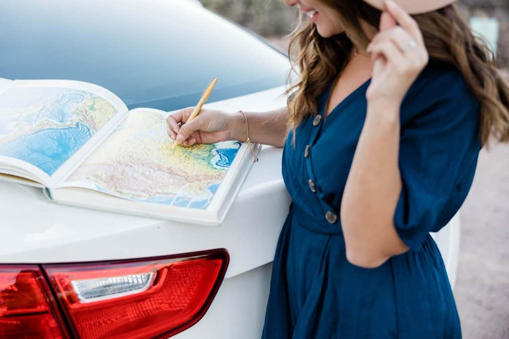 Woman Planning a Road Trip
